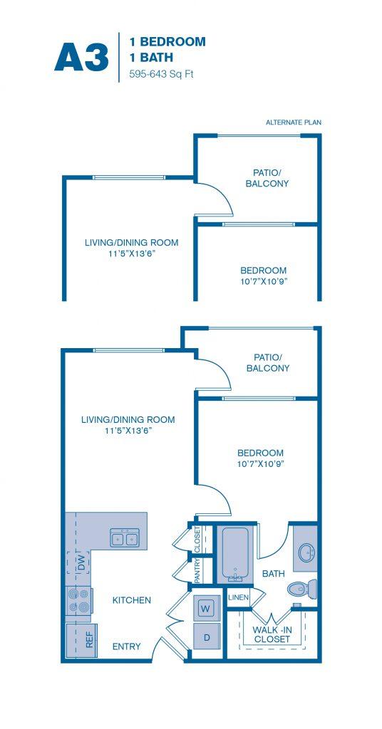 595 sq. ft. A3 floor plan