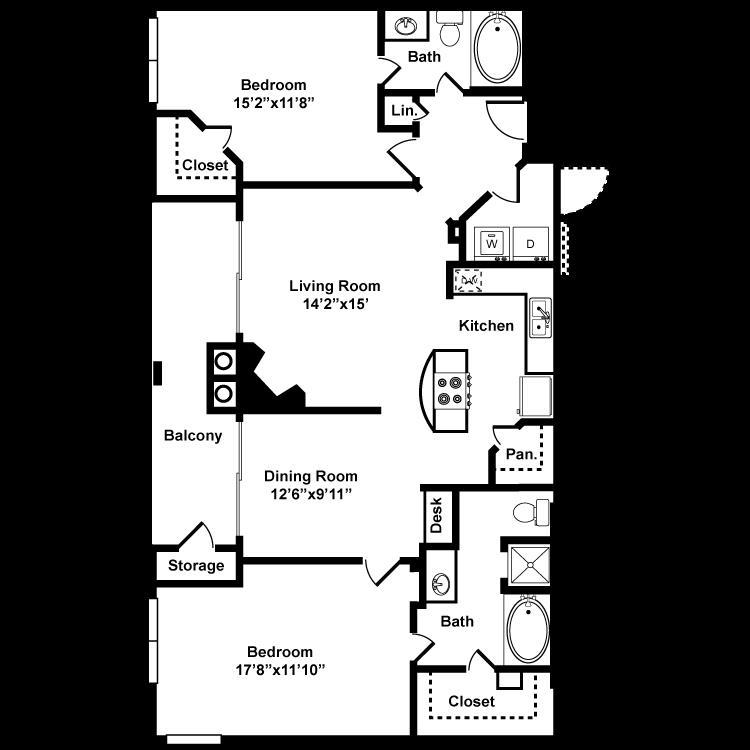 1,228 sq. ft. D7G floor plan