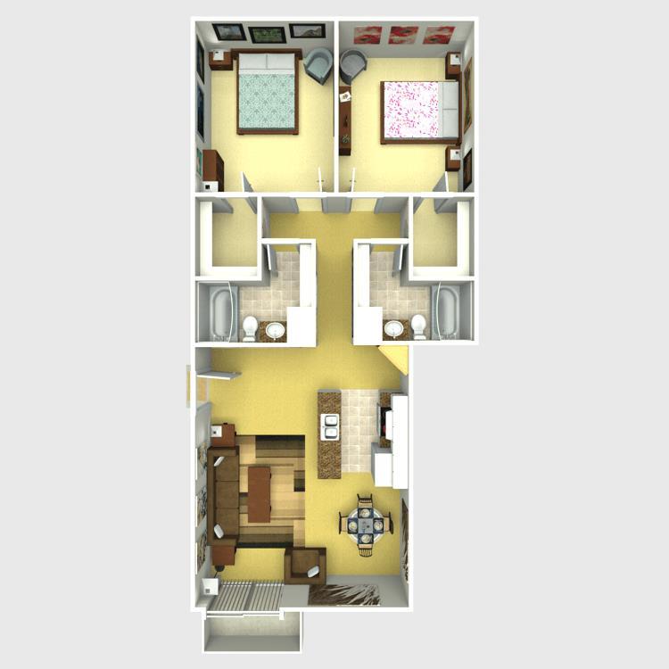 998 sq. ft. Rainer floor plan
