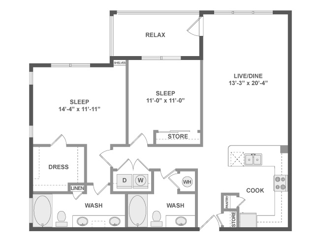 1,154 sq. ft. C5a floor plan