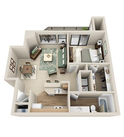 753 sq. ft. Oak floor plan