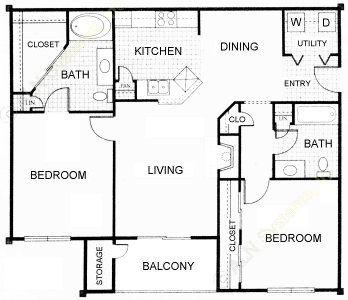 988 sq. ft. D floor plan