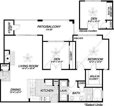 956 sq. ft. A4 floor plan