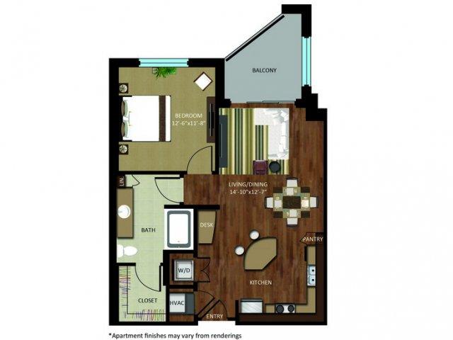 764 sq. ft. A5 floor plan