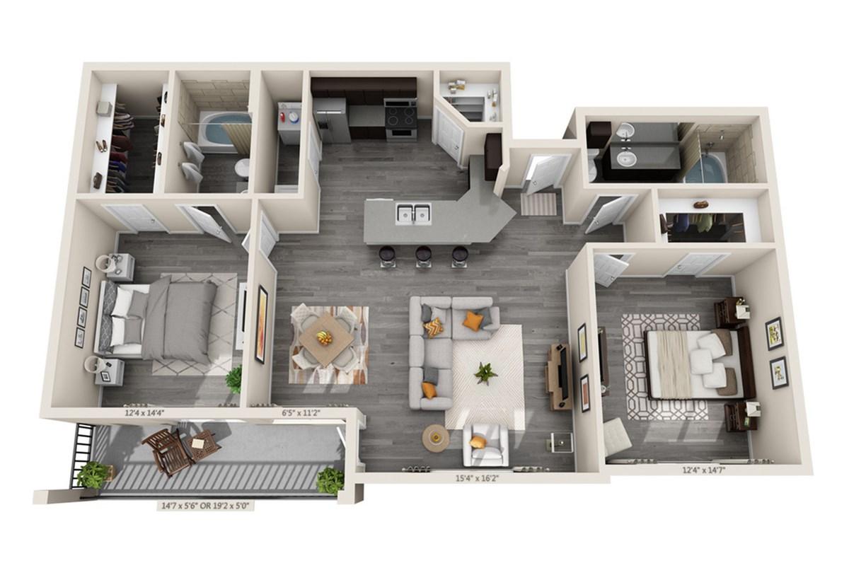 1,170 sq. ft. Lanai floor plan