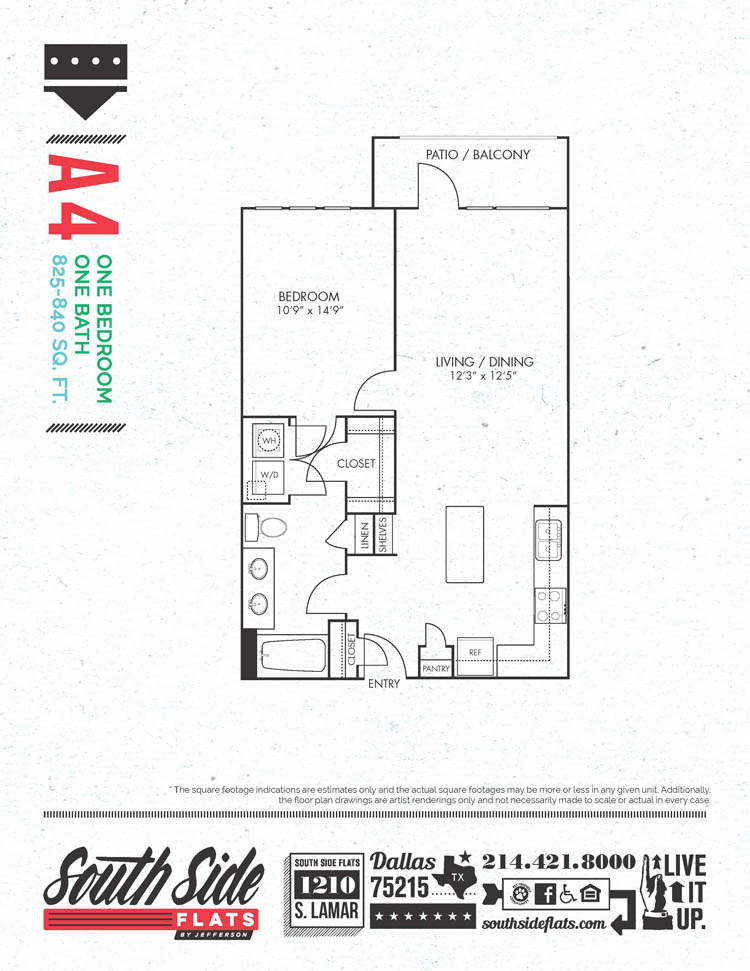 825 sq. ft. to 840 sq. ft. A4 floor plan