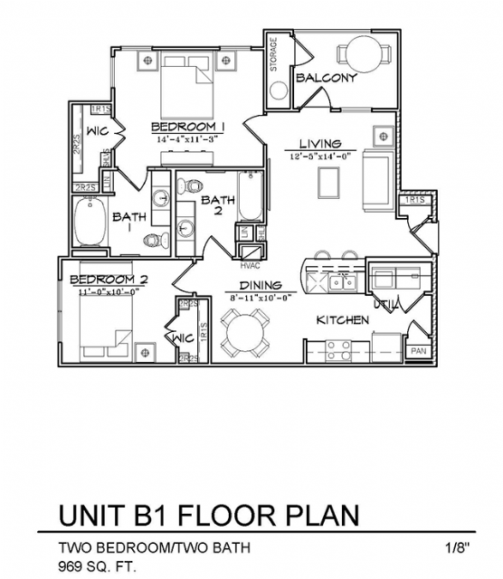 969 sq. ft. B1 floor plan