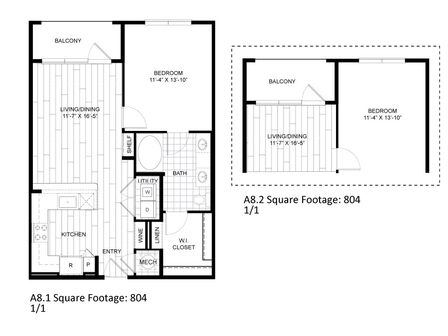 804 sq. ft. A8.1 floor plan