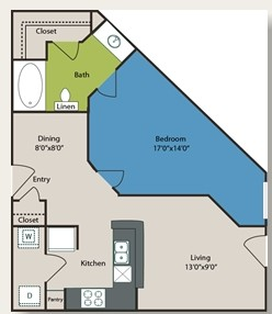 680 sq. ft. A2 floor plan