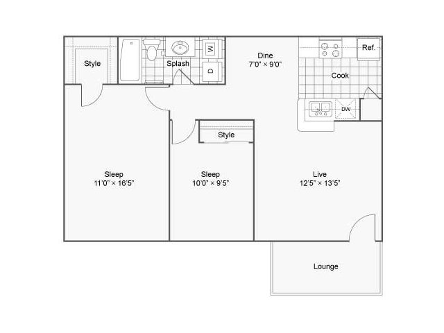 804 sq. ft. Freesia floor plan