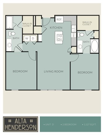 1,127 sq. ft. D floor plan