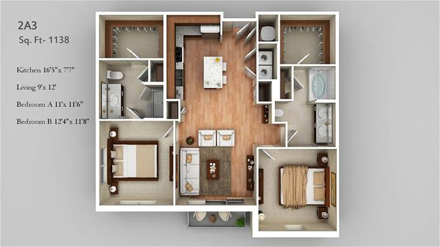 1,138 sq. ft. 2A3 floor plan