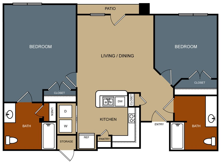1,026 sq. ft. B4/50% floor plan