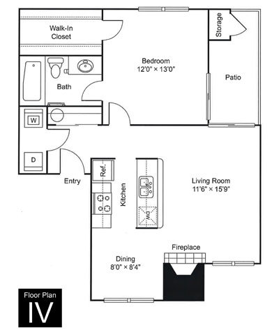 725 sq. ft. to 754 sq. ft. IV floor plan