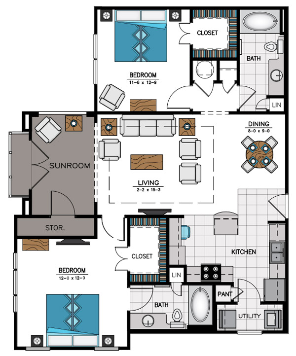 1,254 sq. ft. B7C floor plan