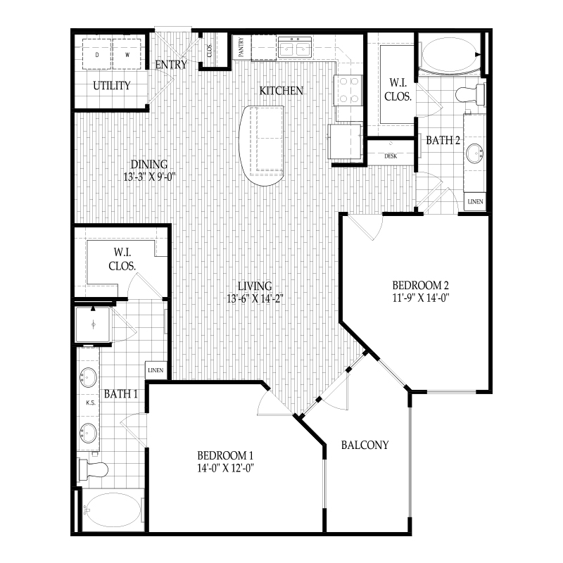 1,225 sq. ft. C2 Manet floor plan