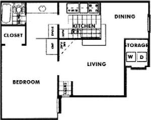660 sq. ft. D floor plan