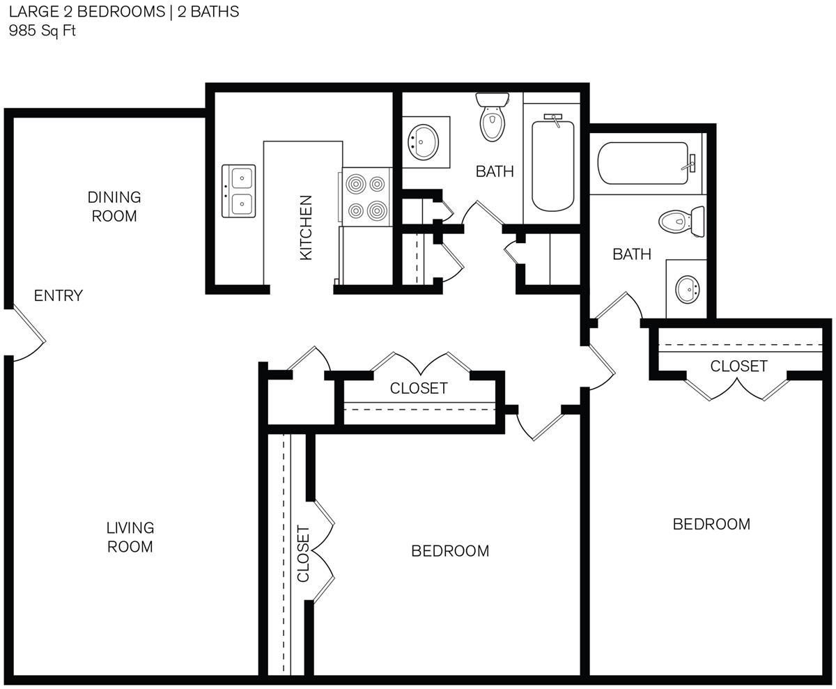 985 sq. ft. D2 floor plan