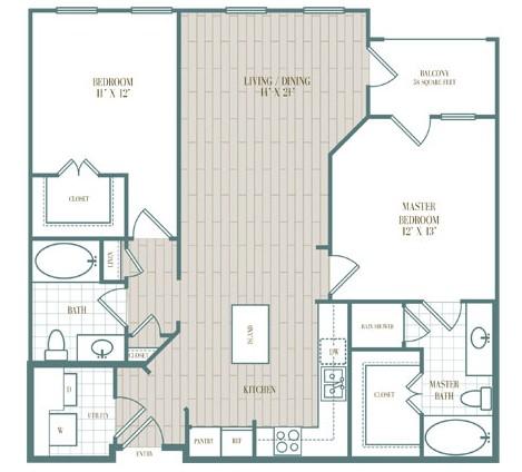 1,114 sq. ft. Santa Cruz floor plan