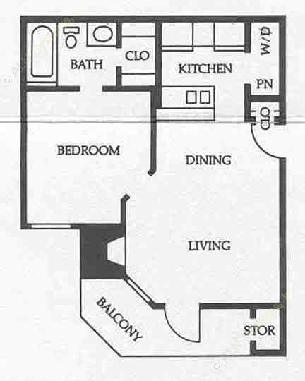 520 sq. ft. A1 50% floor plan