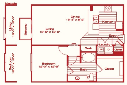848 sq. ft. A3 floor plan