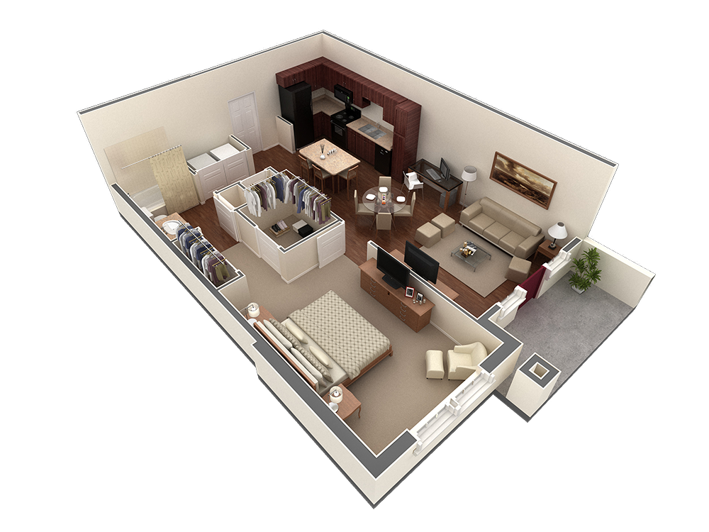 826 sq. ft. Strait floor plan
