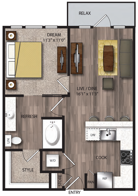 671 sq. ft. A2.1 floor plan