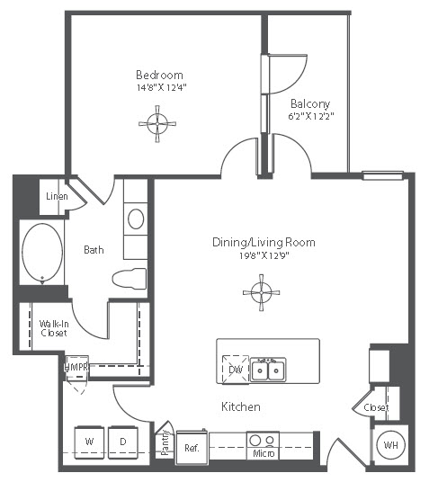 873 sq. ft. A15 floor plan