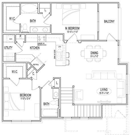 1,186 sq. ft. B2 UP floor plan