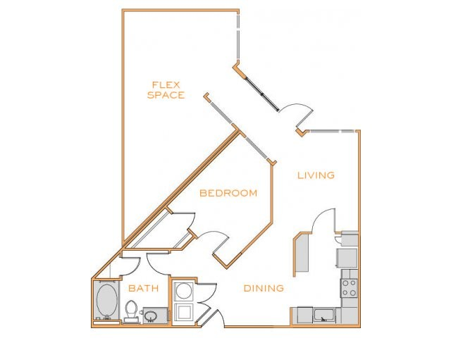 1,103 sq. ft. C2 floor plan
