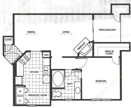 761 sq. ft. A4 floor plan