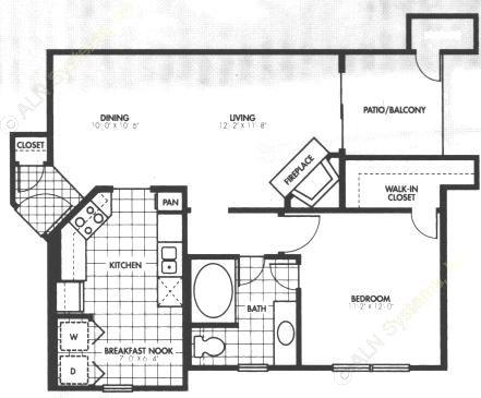 761 sq. ft. A4 floor plan