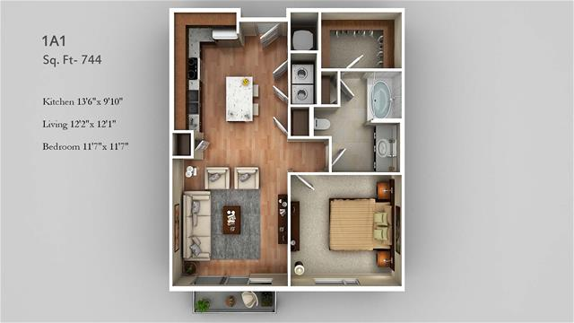 744 sq. ft. 1A1 floor plan