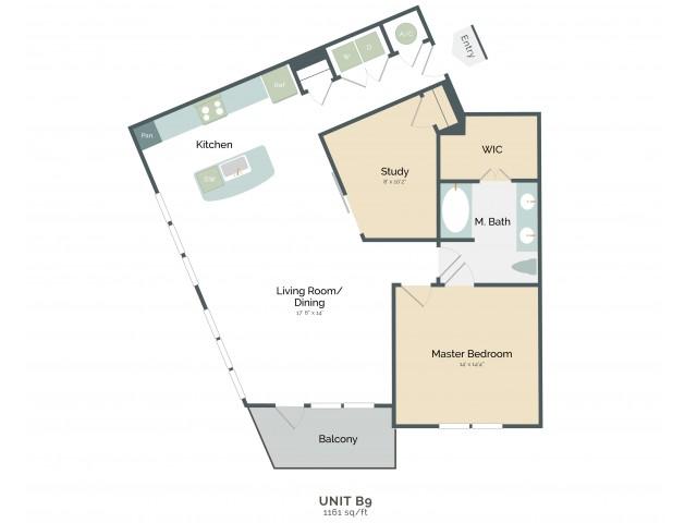 1,161 sq. ft. B9 floor plan
