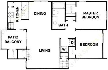 971 sq. ft. B6 floor plan