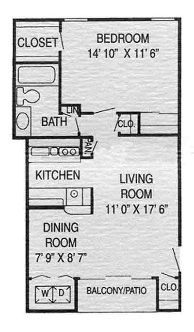 653 sq. ft. E floor plan