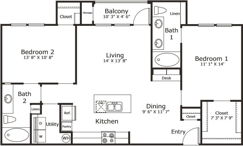 1,084 sq. ft. B1 floor plan