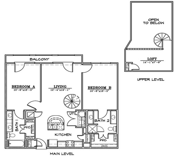 1,138 sq. ft. B7LA1 floor plan