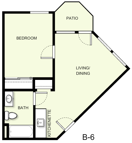 508 sq. ft. B6 floor plan