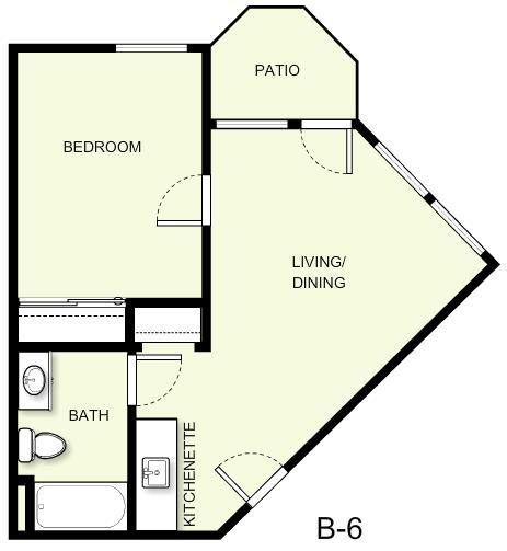 508 sq. ft. B6 floor plan