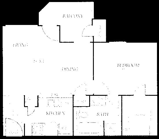 540 sq. ft. A3 floor plan