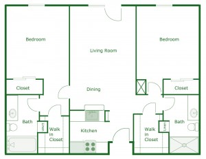 900 sq. ft. Madison floor plan