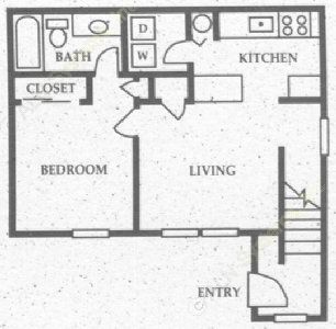519 sq. ft. A2 floor plan