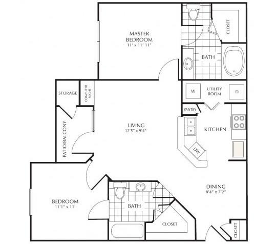 959 sq. ft. G1 floor plan