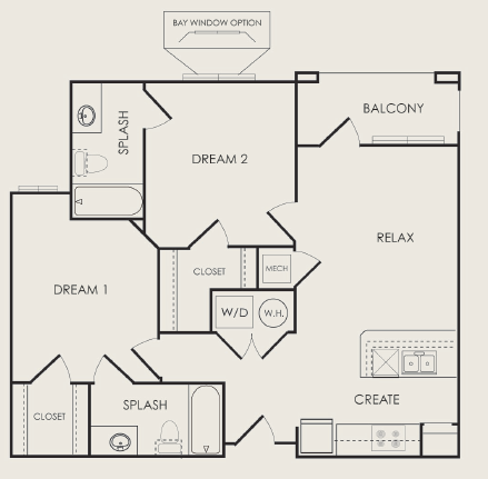 864 sq. ft. Composer floor plan