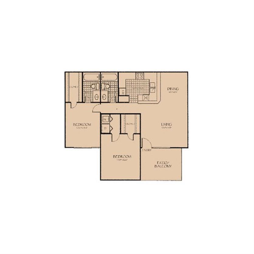 1,018 sq. ft. 2A floor plan