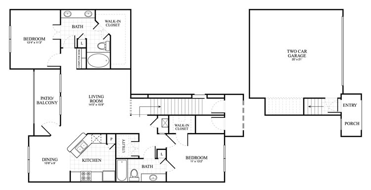 1,286 sq. ft. Brixton floor plan