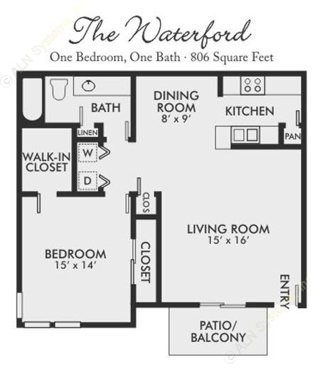 806 sq. ft. Waterford floor plan