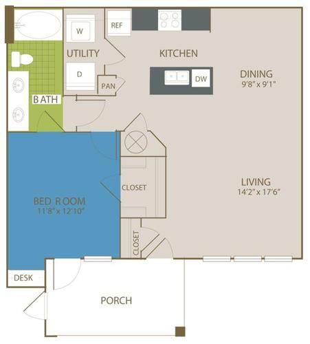 877 sq. ft. A4 floor plan