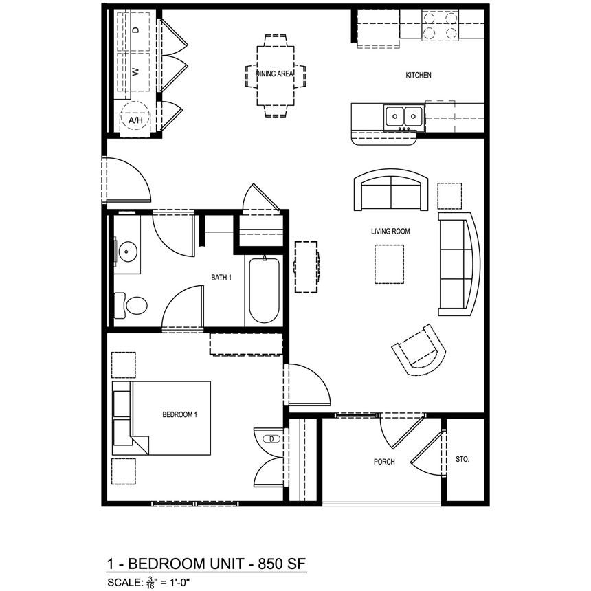 850 sq. ft. 60% floor plan